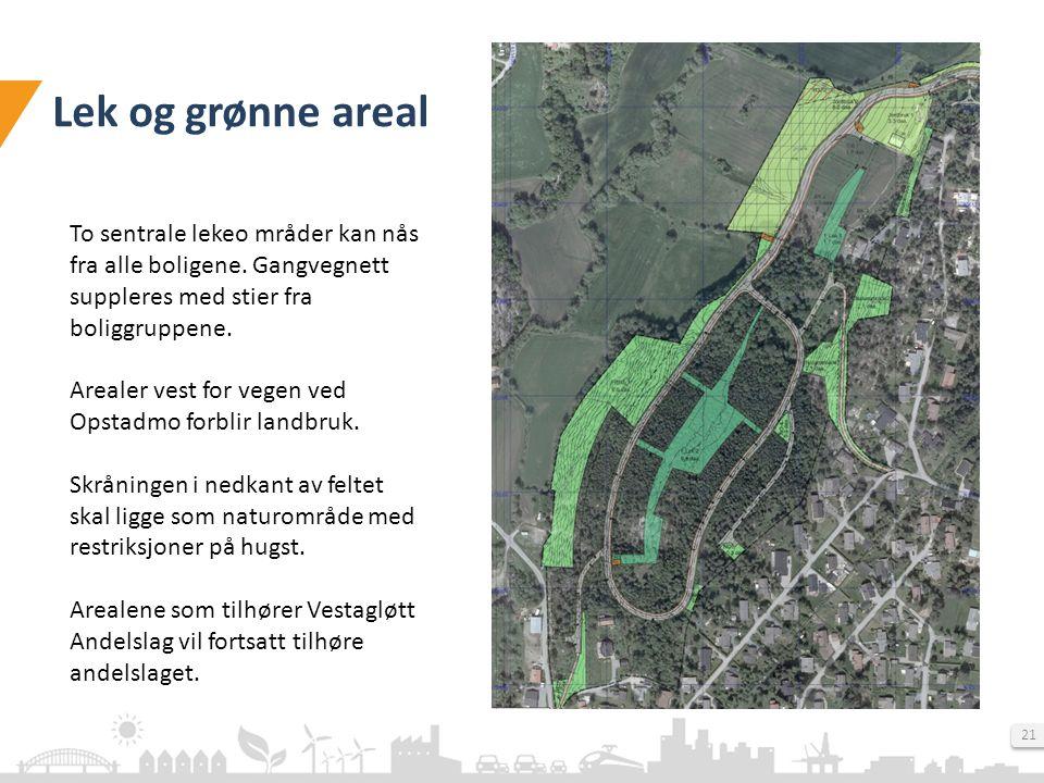 Lek og grønne areal To sentrale lekeo mråder kan nås fra alle boligene. Gangvegnett suppleres med stier fra boliggruppene.