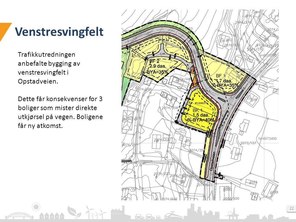 Venstresvingfelt Trafikkutredningen anbefalte bygging av venstresvingfelt i Opstadveien.