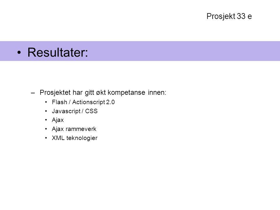 Resultater: Prosjekt 33 e Prosjektet har gitt økt kompetanse innen: