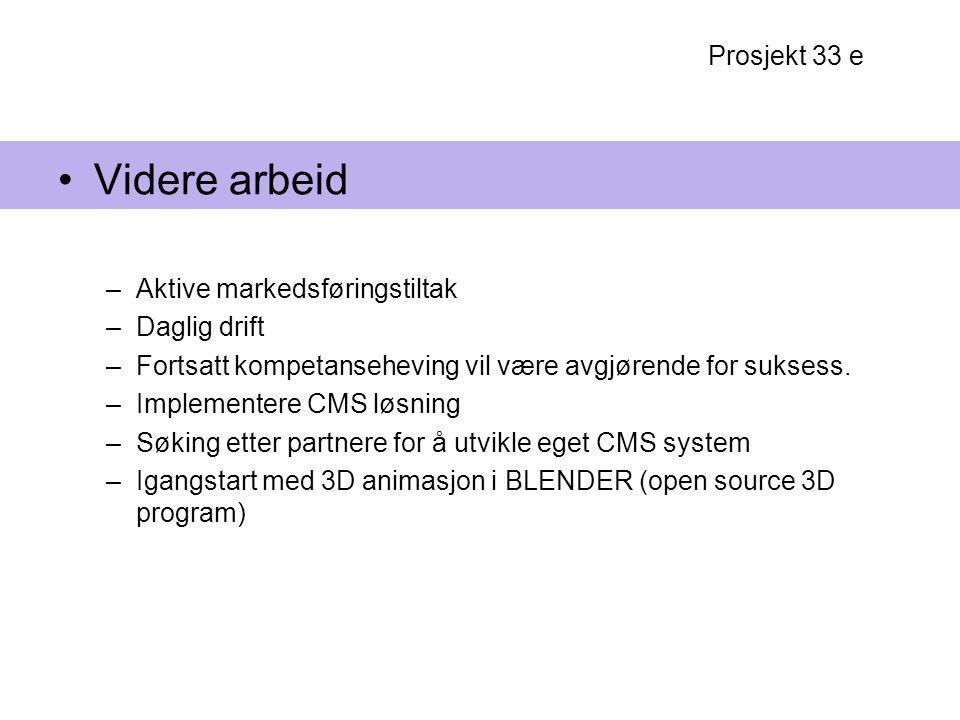 Videre arbeid Prosjekt 33 e Aktive markedsføringstiltak Daglig drift