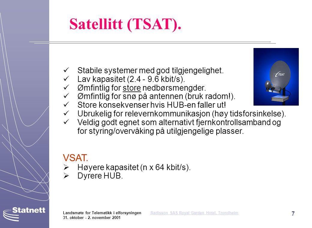 Satellitt (TSAT). VSAT. Stabile systemer med god tilgjengelighet.