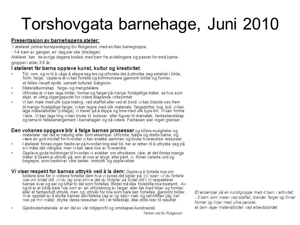 Torshovgata barnehage, Juni 2010