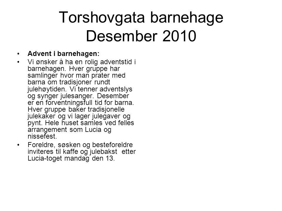 Torshovgata barnehage Desember 2010