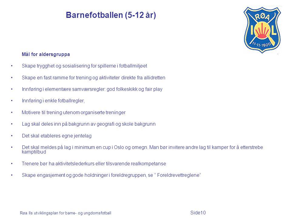 Barnefotballen (5-12 år) Mål for aldersgruppa
