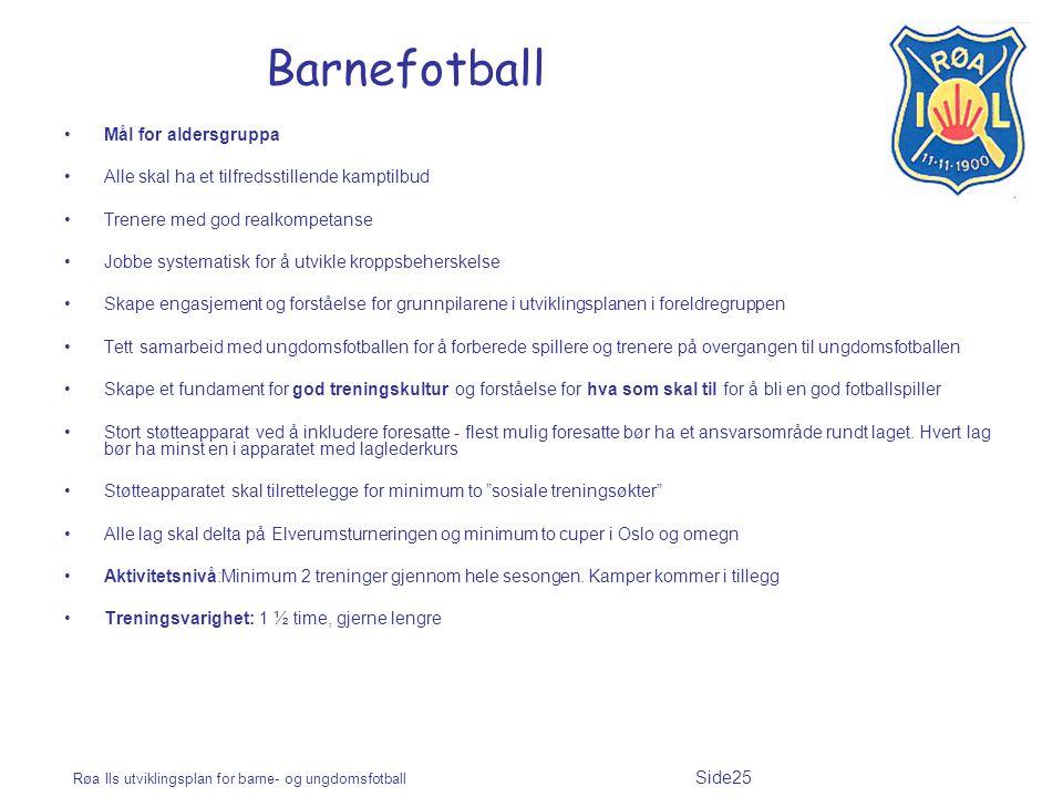 Barnefotball Mål for aldersgruppa