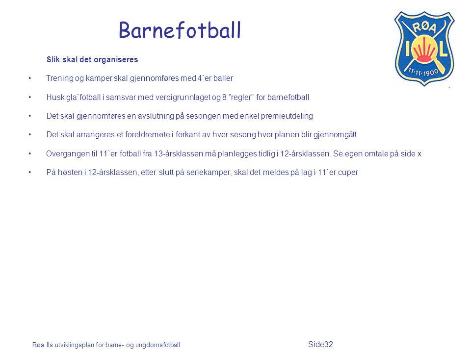 Barnefotball Slik skal det organiseres
