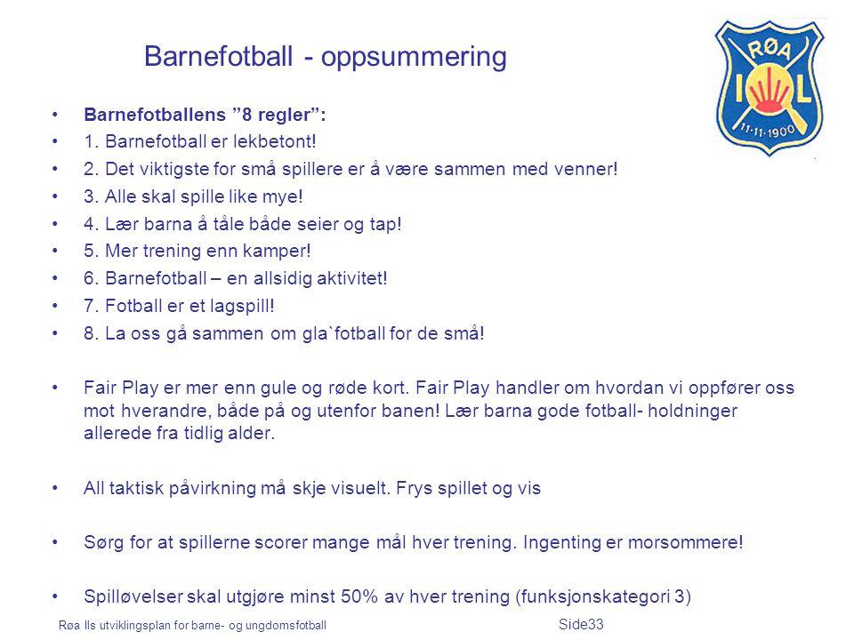 Barnefotball - oppsummering