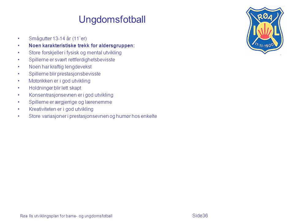 Ungdomsfotball Smågutter 13-14 år (11`er)