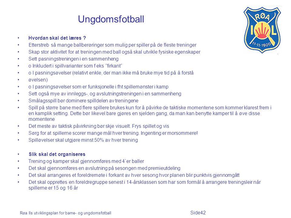 Ungdomsfotball Hvordan skal det læres