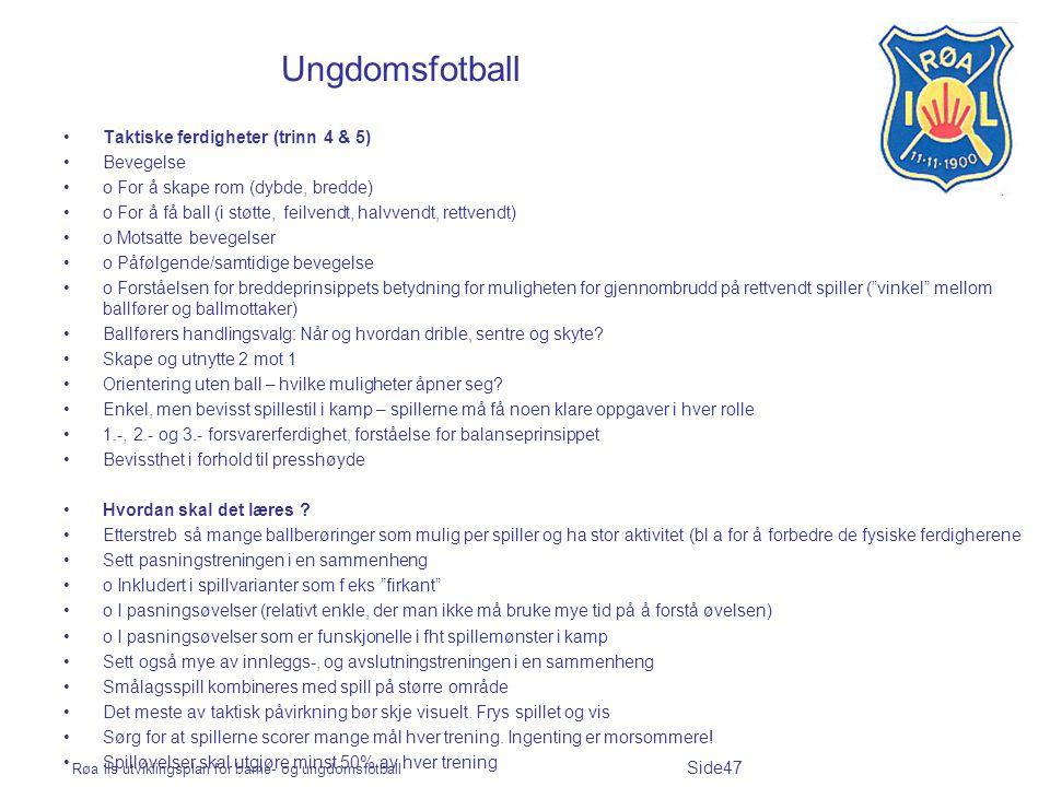 Ungdomsfotball Taktiske ferdigheter (trinn 4 & 5) Bevegelse