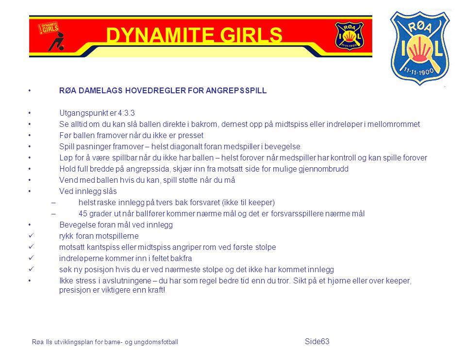 DYNAMITE GIRLS RØA DAMELAGS HOVEDREGLER FOR ANGREPSSPILL