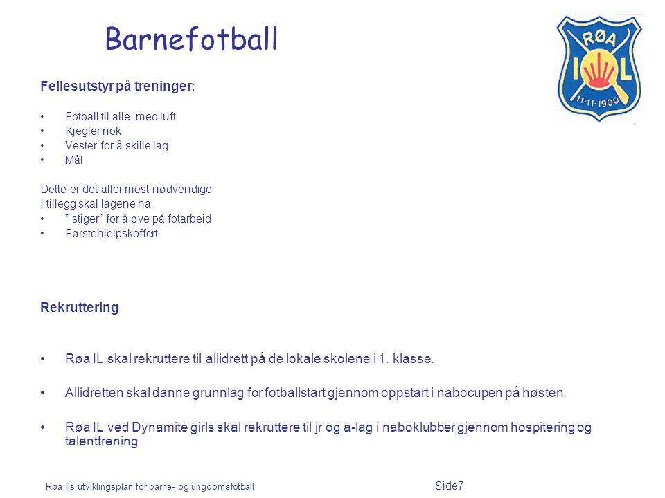 Barnefotball Fellesutstyr på treninger: Rekruttering