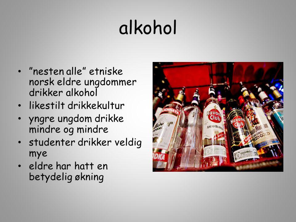 alkohol nesten alle etniske norsk eldre ungdommer drikker alkohol