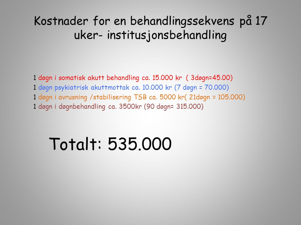 Kostnader for en behandlingssekvens på 17 uker- institusjonsbehandling