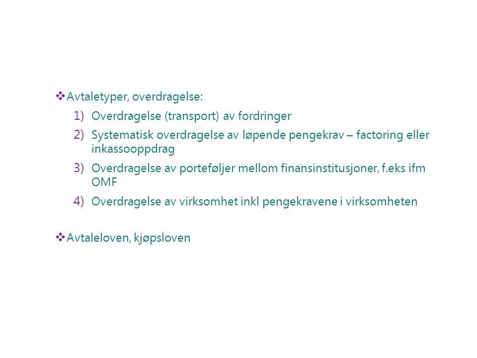Avtaletyper, overdragelse:
