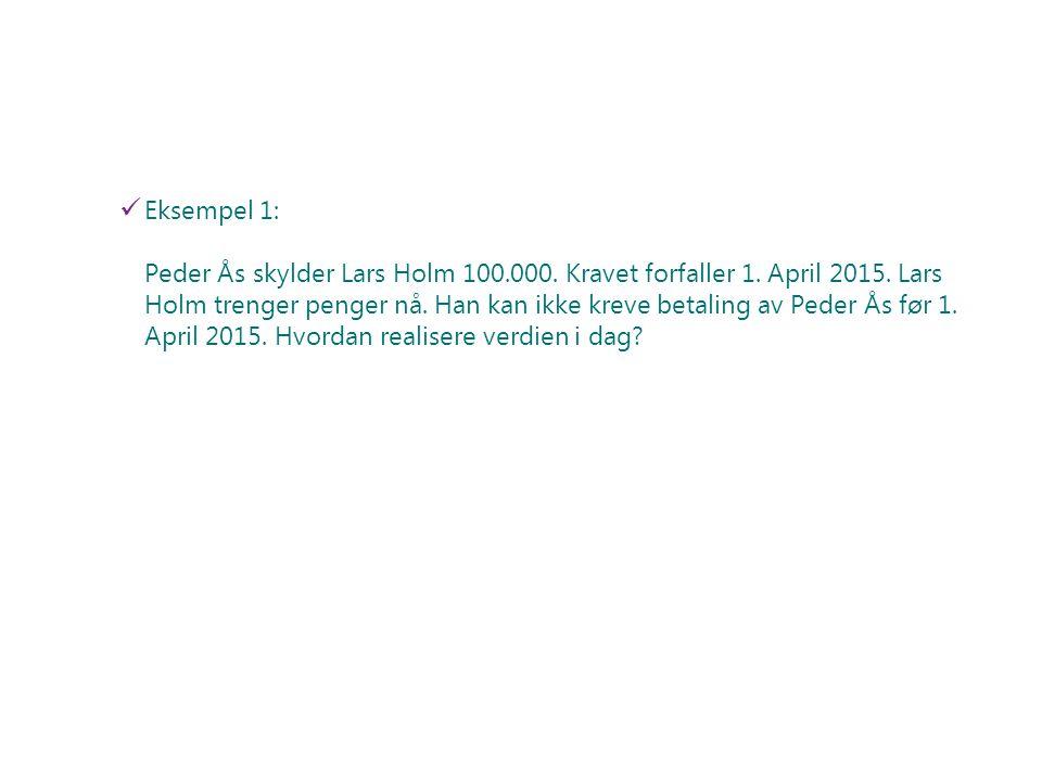 Eksempel 1: Peder Ås skylder Lars Holm 100. 000. Kravet forfaller 1