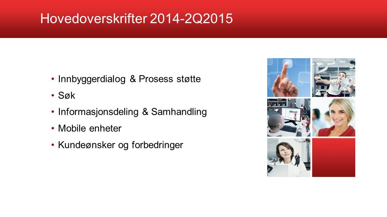 Hovedoverskrifter 2014-2Q2015 Innbyggerdialog & Prosess støtte Søk