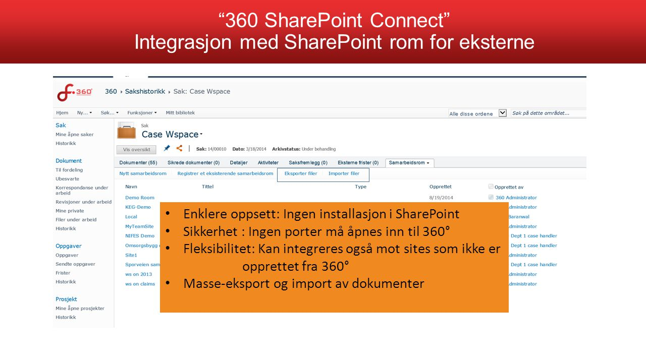 360 SharePoint Connect Integrasjon med SharePoint rom for eksterne