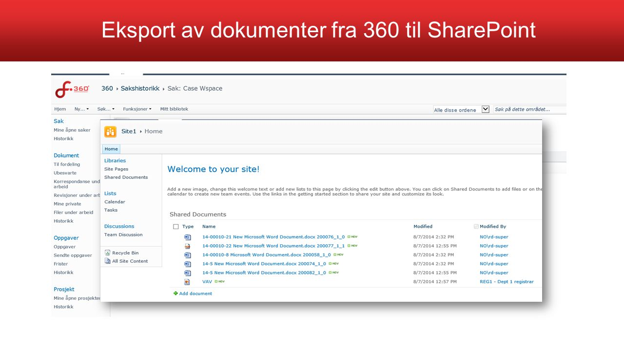 Eksport av dokumenter fra 360 til SharePoint