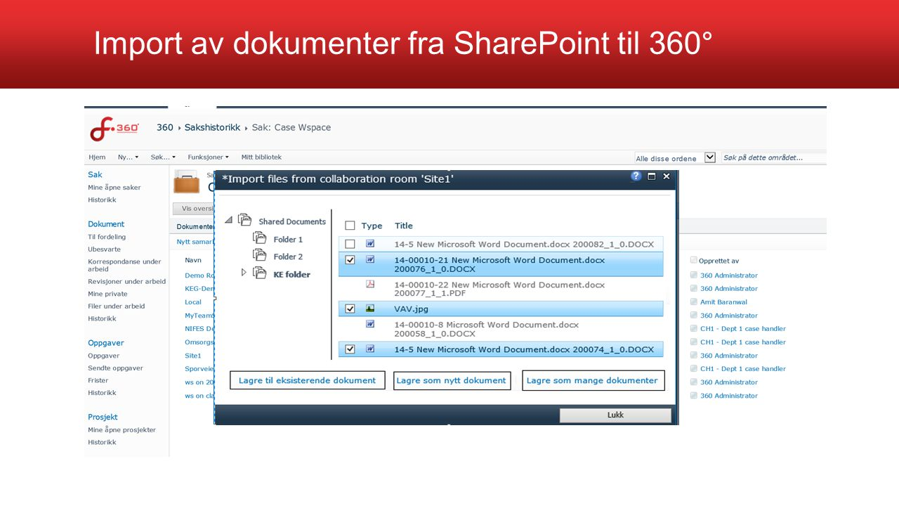 Import av dokumenter fra SharePoint til 360°