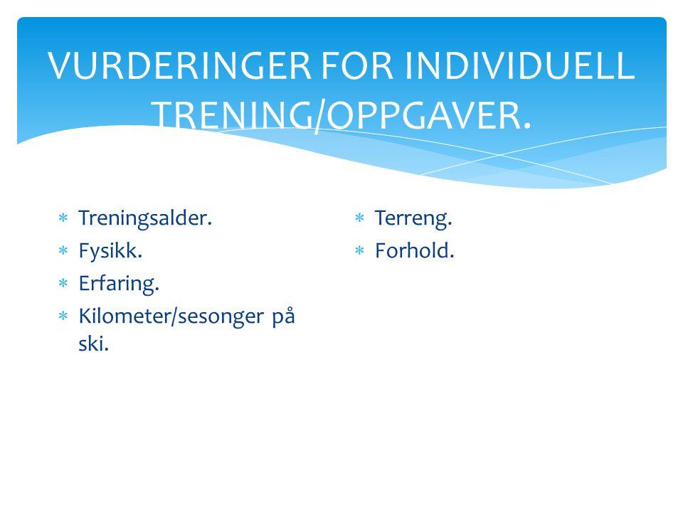 VURDERINGER FOR INDIVIDUELL TRENING/OPPGAVER.