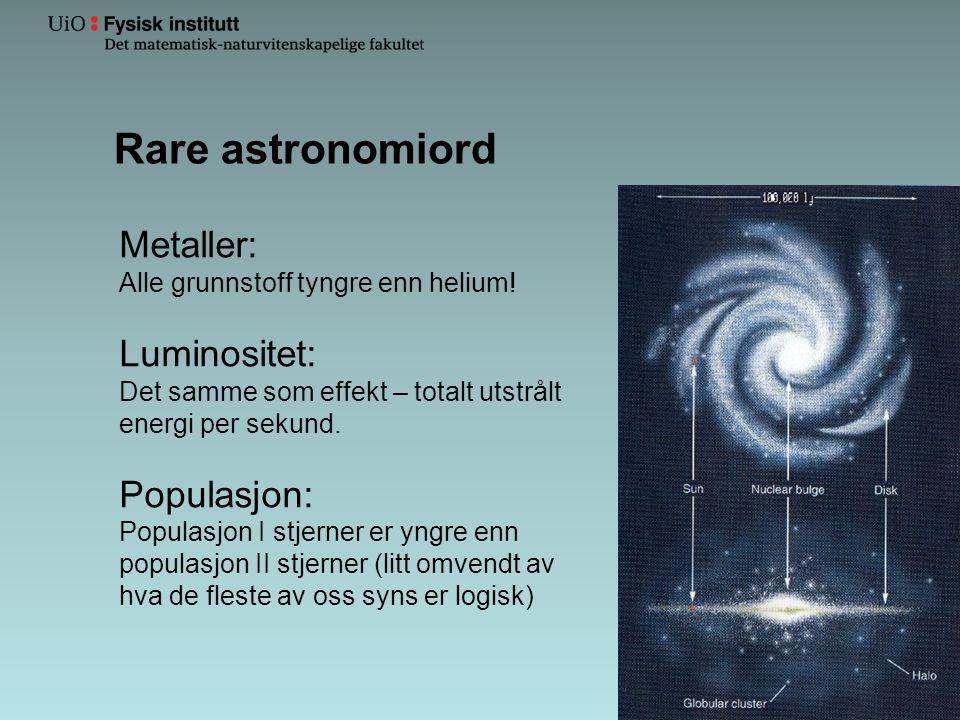 Rare astronomiord Metaller: Luminositet: Populasjon: