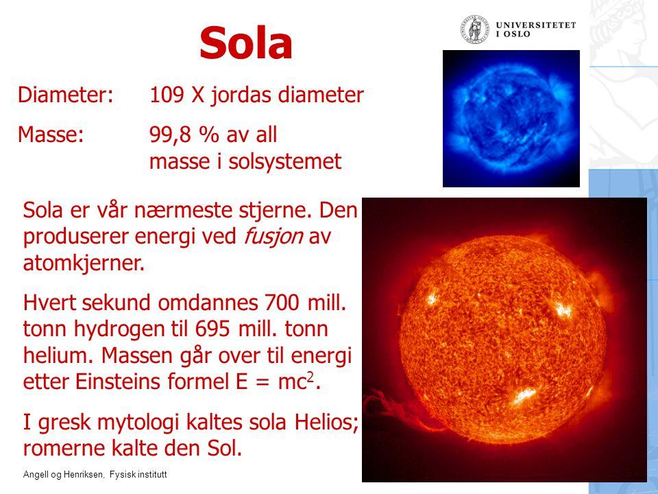 Sola Diameter: 109 X jordas diameter