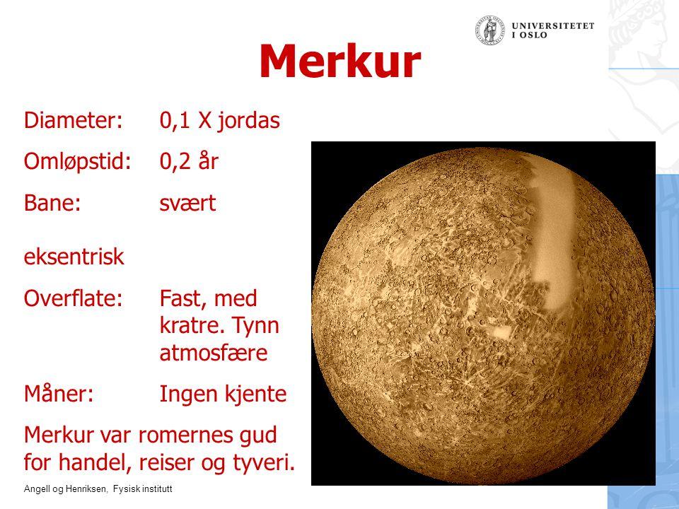 Merkur Diameter: 0,1 X jordas Omløpstid: 0,2 år Bane: svært eksentrisk