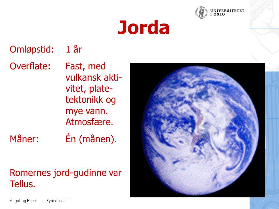 Jorda Omløpstid: 1 år. Overflate: Fast, med vulkansk akti- vitet, plate- tektonikk og mye vann. Atmosfære.