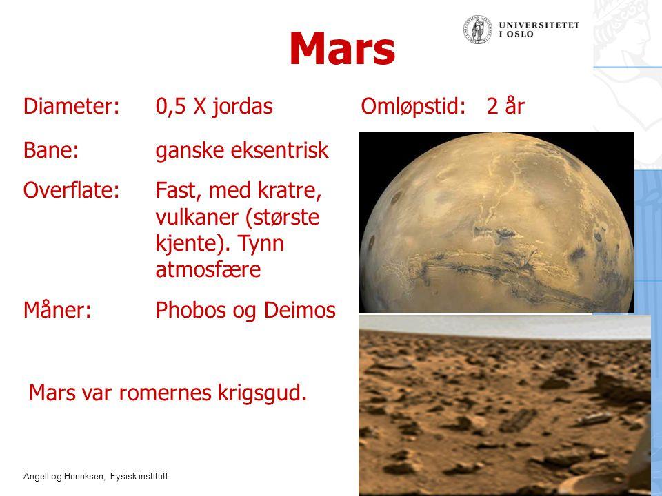Mars Diameter: 0,5 X jordas Omløpstid: 2 år Bane: ganske eksentrisk
