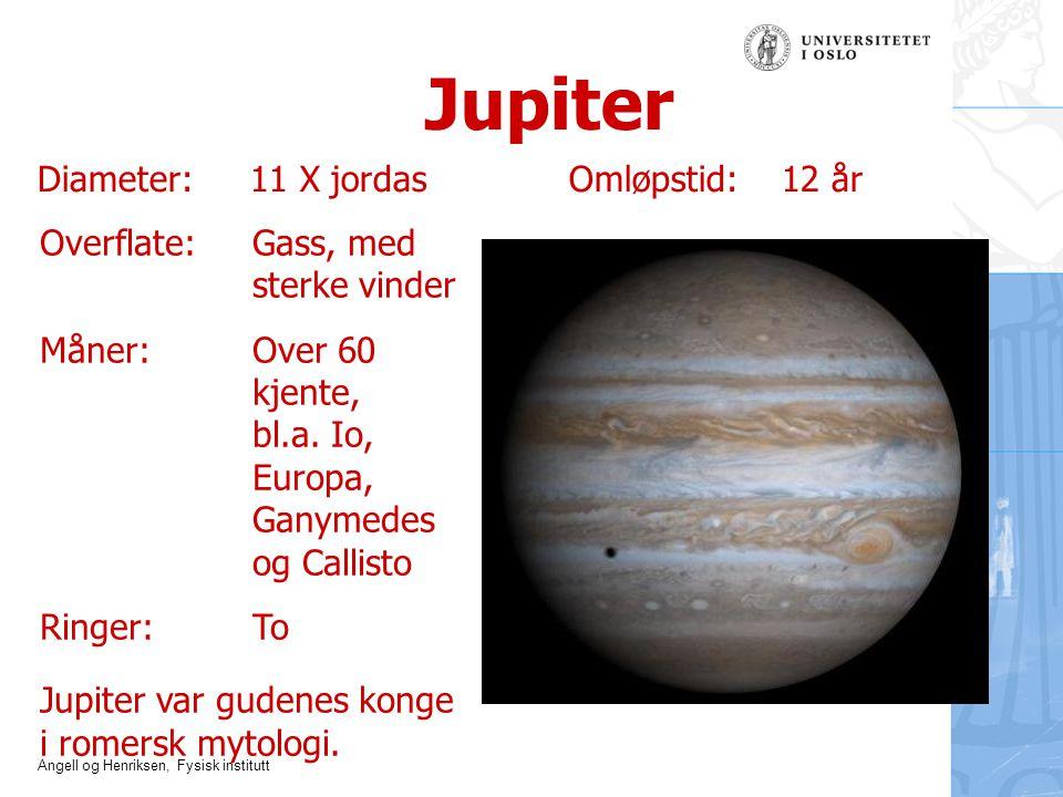 Jupiter Diameter: 11 X jordas Omløpstid: 12 år