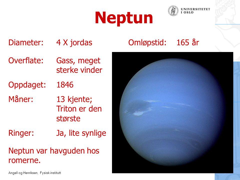 Neptun Diameter: 4 X jordas Omløpstid: 165 år