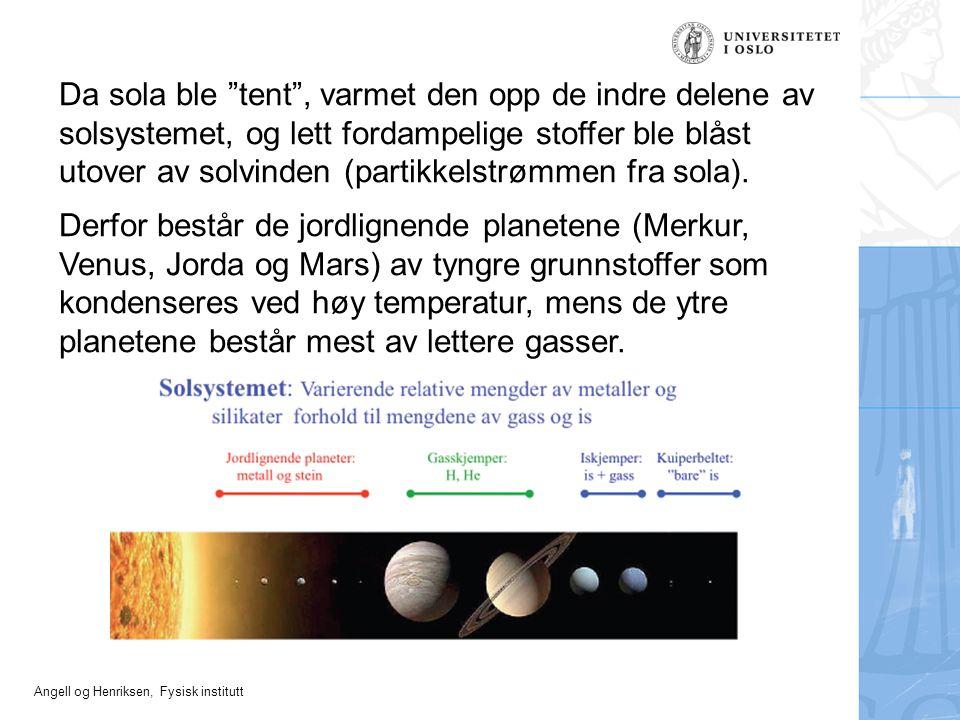 Da sola ble tent , varmet den opp de indre delene av solsystemet, og lett fordampelige stoffer ble blåst utover av solvinden (partikkelstrømmen fra sola).