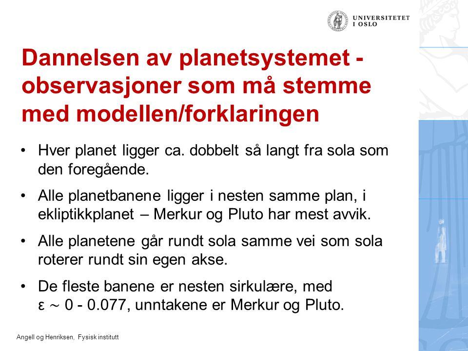 Dannelsen av planetsystemet - observasjoner som må stemme med modellen/forklaringen