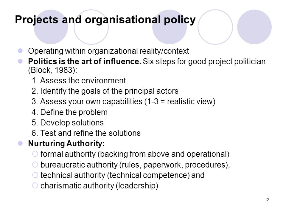 Projects and organisational policy