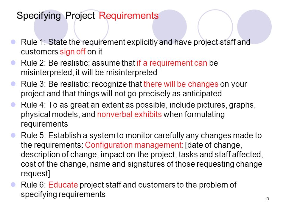 Specifying Project Requirements