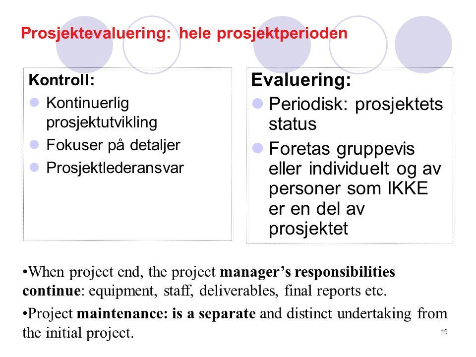 Prosjektevaluering: hele prosjektperioden