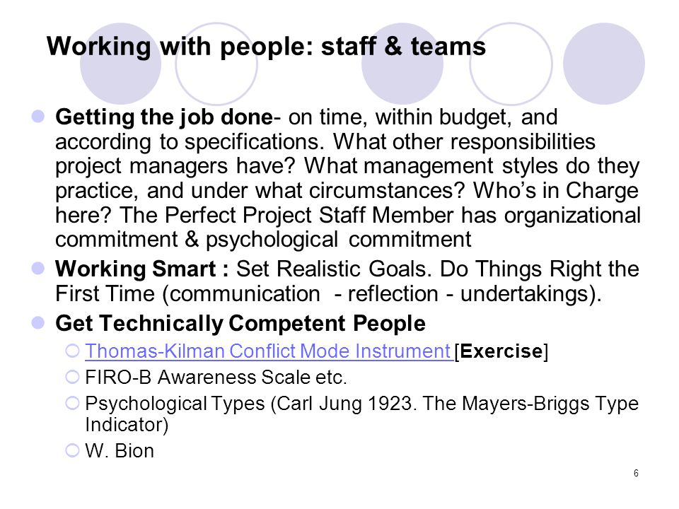 Working with people: staff & teams