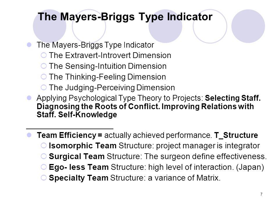 The Mayers-Briggs Type Indicator