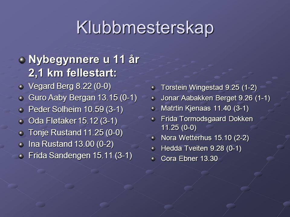 Klubbmesterskap Nybegynnere u 11 år 2,1 km fellestart: