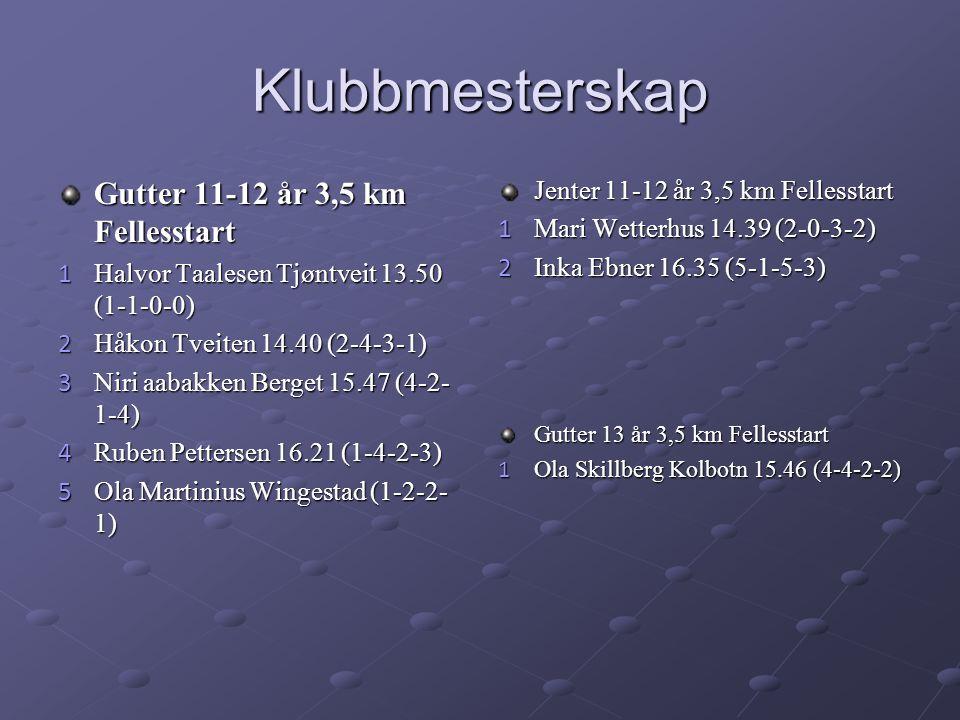 Klubbmesterskap Gutter 11-12 år 3,5 km Fellesstart