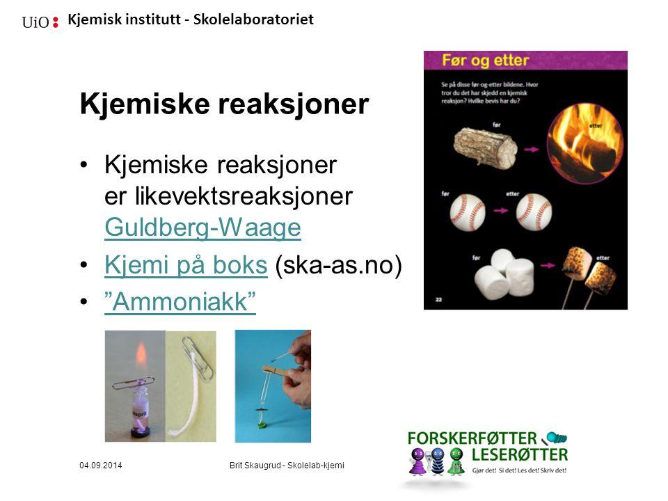 Kjemiske reaksjoner Kjemiske reaksjoner er likevektsreaksjoner Guldberg-Waage. Kjemi på boks (ska-as.no)