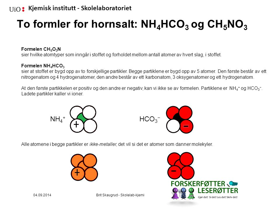 To formler for hornsalt: NH4HCO3 og CH5NO3