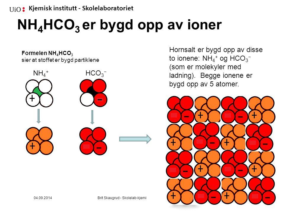 NH4HCO3 er bygd opp av ioner