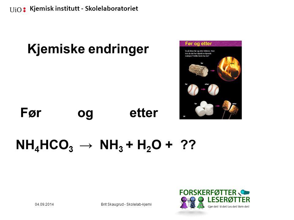 Kjemiske endringer Før og etter NH4HCO3 → NH3 + H2O + 04.09.2014