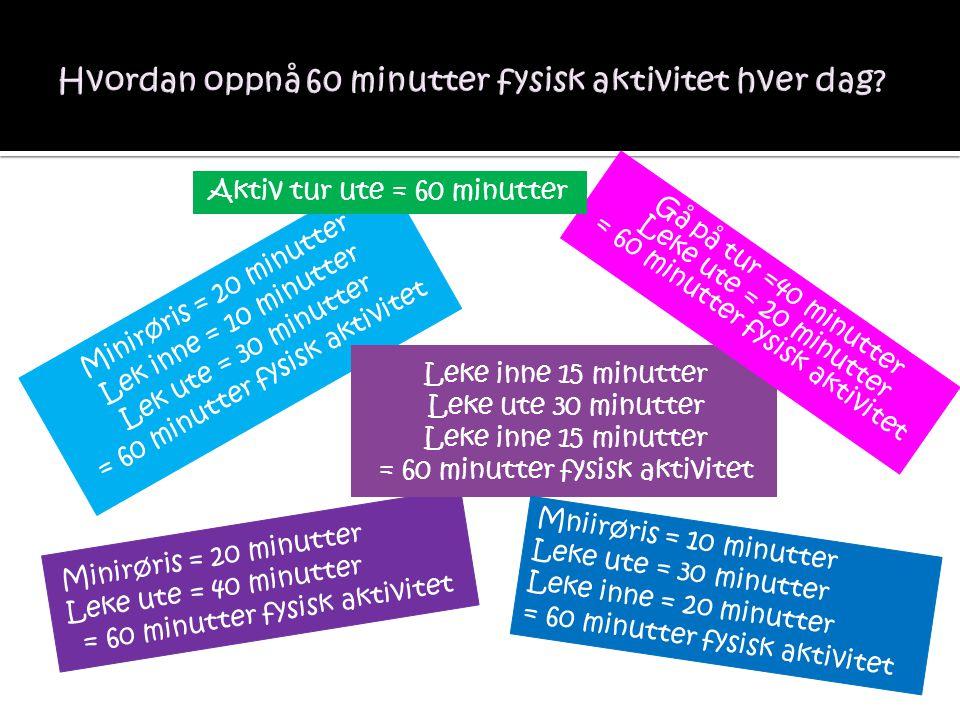 Hvordan oppnå 60 minutter fysisk aktivitet hver dag