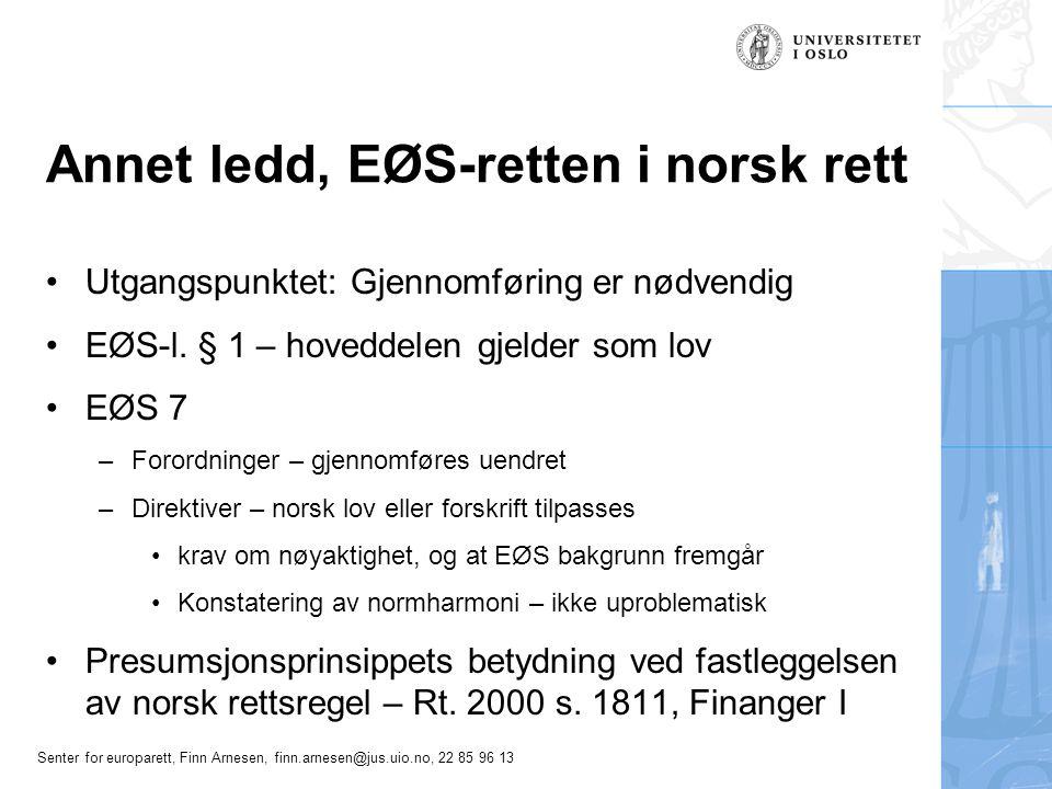 Annet ledd, EØS-retten i norsk rett