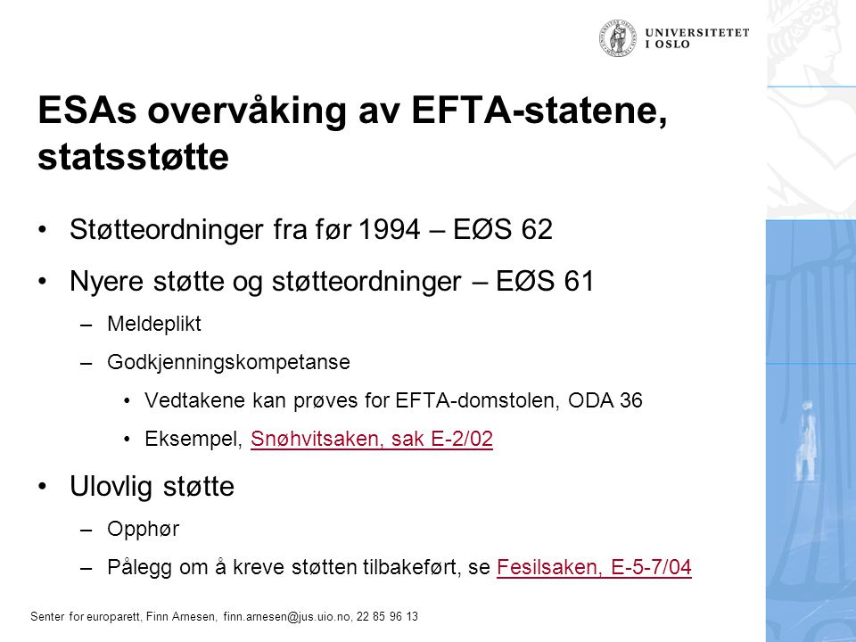 ESAs overvåking av EFTA-statene, statsstøtte