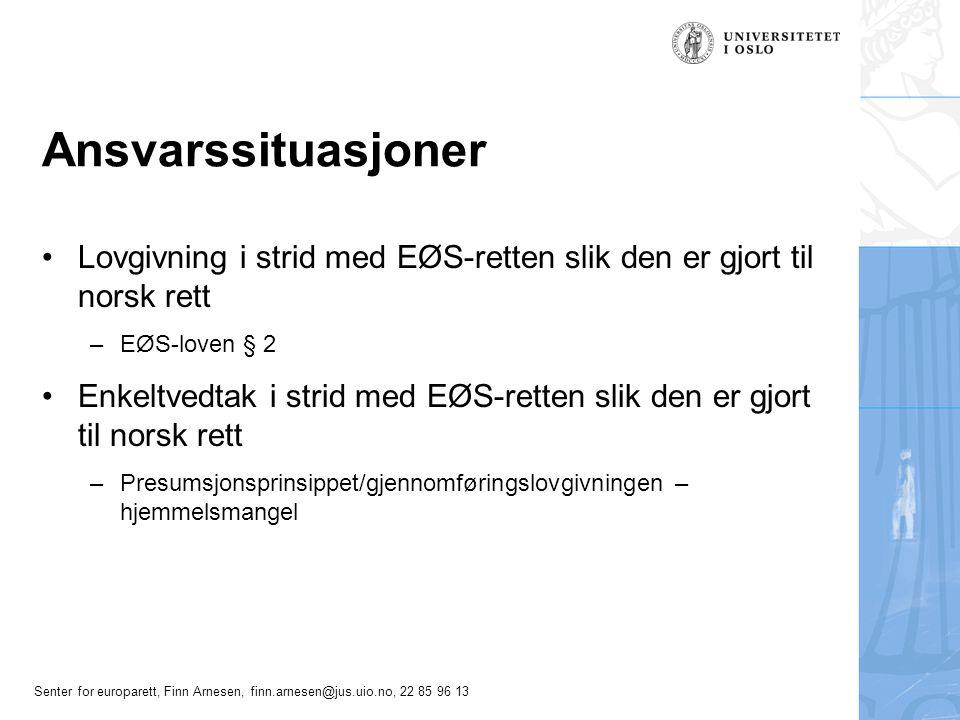 Ansvarssituasjoner Lovgivning i strid med EØS-retten slik den er gjort til norsk rett. EØS-loven § 2.