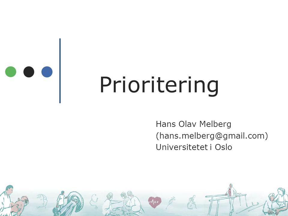 Hans Olav Melberg (hans.melberg@gmail.com) Universitetet i Oslo